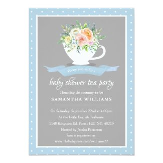 Elegant Floral Teacup Baby Shower Tea Party Invitation