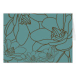 Elegant Floral Thank You Card - Blue and Brown