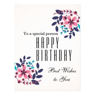 Elegant floral theme Happy Birthday Postcard