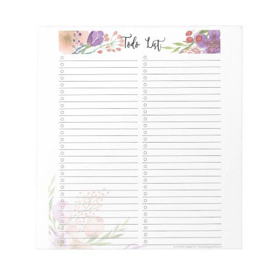 elegant floral to do checklist notepad template zazzle com