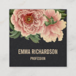 """Elegant floral trendy pink peony business cards<br><div class=""""desc"""">Trendy and professional elegant floral peony business card with pink vintage peony flowers on premium black paper. Remember that you can choose font, color, color of the background, paper type, you can add or delete a line of text etc - simply click &quot;customise&quot;. If your name is much longer or...</div>"""