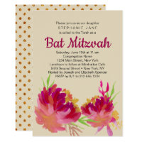 Elegant Floral Watercolor Bat Mitzvah Invitation