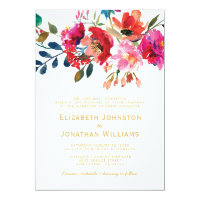 Elegant Floral Watercolor Garden Formal Wedding Invitation