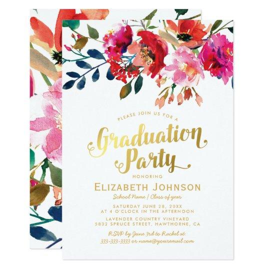 Elegant floral watercolor graduation party invitation zazzle elegant floral watercolor graduation party invitation filmwisefo