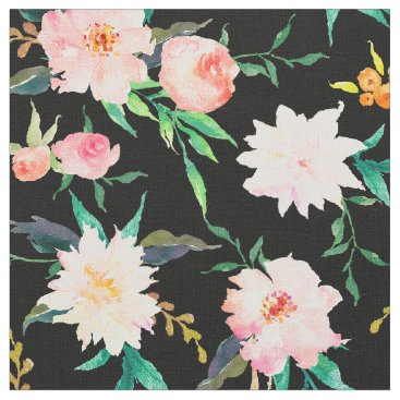 Beach Themed Elegant Floral Watercolor Pink Black White Fabric