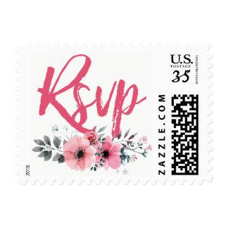 Elegant Floral Watercolor Poppies Wedding RSVP Postage