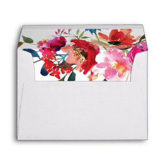 Elegant Floral Watercolor Summer Garden Envelope