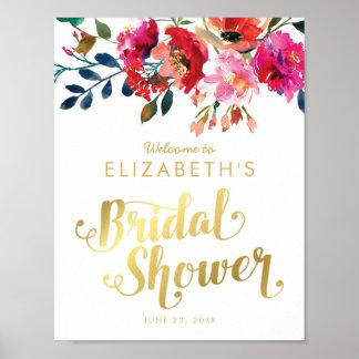 Elegant Floral Watercolor White Gold Bridal Shower Poster