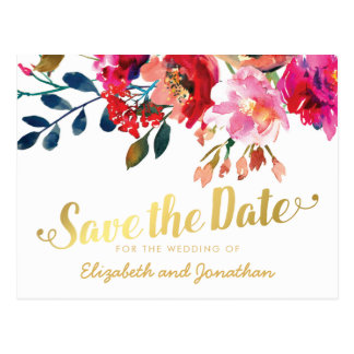 Elegant Floral Watercolor White Gold Save the Date Postcard
