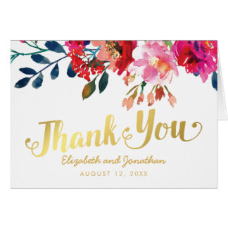 Elegant Floral Watercolor White Gold Thank You Card
