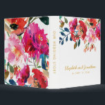 """Elegant Floral Watercolor White Gold Wedding Album 3 Ring Binder<br><div class=""""desc"""">Elegant wedding photo album featuring a classic white background,  watercolor floral display,  a stylish faux gold foil typographic title and a modern template.</div>"""