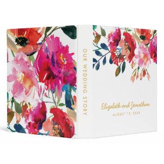 Elegant Floral Watercolor White Gold Wedding Album 3 Ring Binder