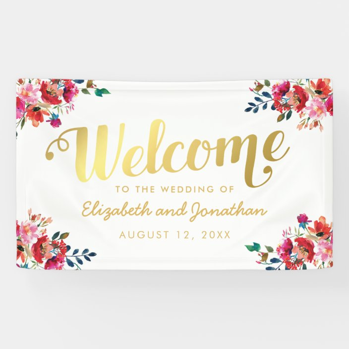 Elegant Floral Watercolor White Gold Wedding Banner Zazzle Com