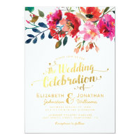 Elegant Floral Watercolor White Gold Wedding Invitation