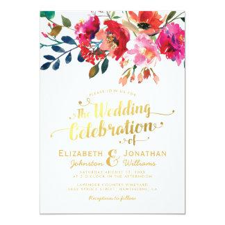 Elegant Floral Watercolor White Gold Wedding Invitation