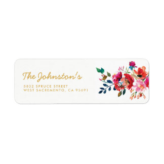 Elegant Floral Watercolor White Gold Wedding Label