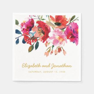 Elegant Floral Watercolor White Gold Wedding Napkin