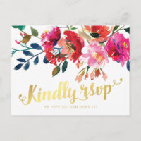 Elegant Floral Watercolor White Gold Wedding RSVP Invitation Postcard