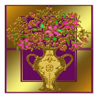 "Elegant Floral Wedding Invitation 5.25"" Square Invitation Card"