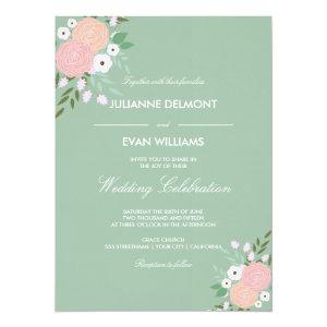 Elegant Floral Wedding Invitation - mint 5.5