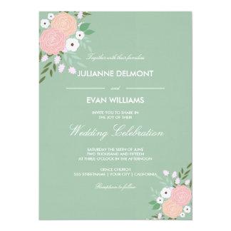 Elegant Floral Wedding Invitation - mint