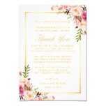 Elegant Floral Wedding Place Setting Thank You Card
