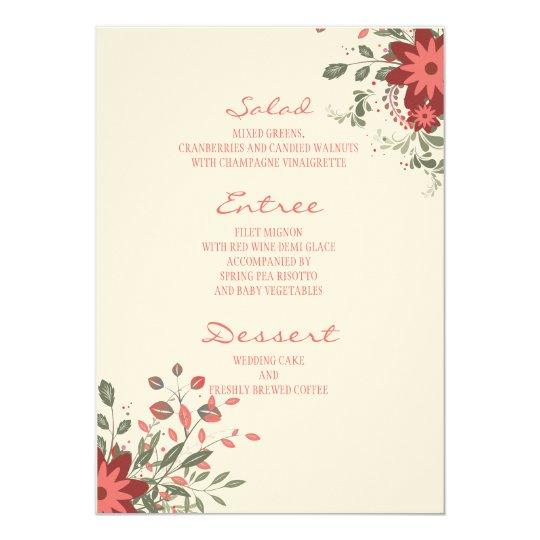 Elegant Floral Wedding Reception Menu Card
