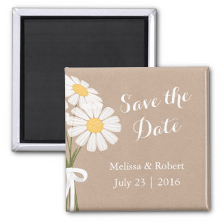 Elegant Floral White Daisies Save the Date Wedding 2 Inch Square Magnet