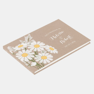 Elegant Floral White Daisies Wedding Guest Book