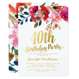 Elegant Floral White Gold 40th Birthday Party Card