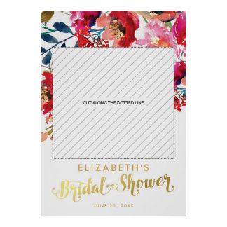 Elegant Floral White Gold Bridal Shower Photo Prop Poster