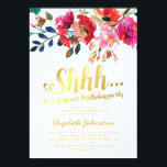 """Elegant Floral White Gold Surprise Birthday Party Card<br><div class=""""desc"""">Elegant surprise birthday party invitations featuring a classic white background,  watercolor floral display,  a stylish faux gold foil typographic title and a modern birthday celebration template.</div>"""