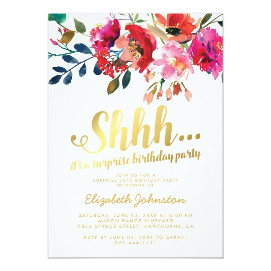 Elegant floral white gold surprise birthday party card zazzle elegant floral white gold surprise birthday party card filmwisefo Image collections
