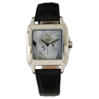 Elegant Floral White Orchid Wristwatches