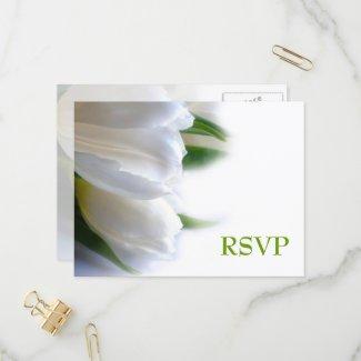 Elegant Floral White Tulips RSVP Invitation Postcard