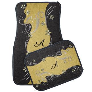 Elegant Floral with Gold Background | DIY Monogram Car Floor Mat