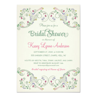Elegant Floral Wreath Bridal Shower Invitations