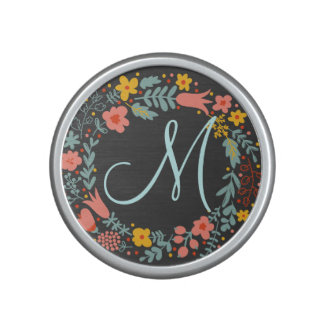 Elegant Floral Wreath Monogram Bluetooth Speaker