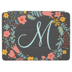 Elegant Floral Wreath Monogram Ipad Air Cover at Zazzle