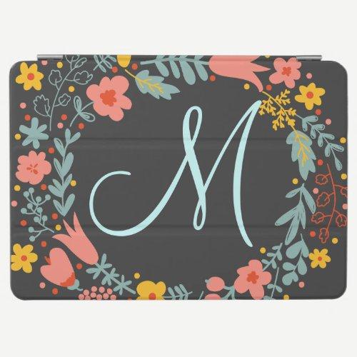 Elegant Floral Wreath Monogram iPad Air Cover
