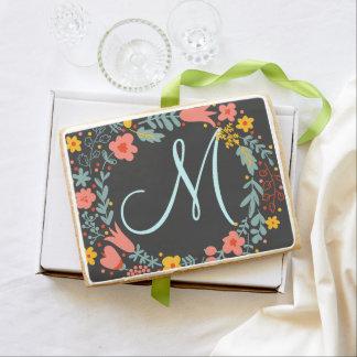 Elegant Floral Wreath Monogram Jumbo Cookie