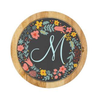 Elegant Floral Wreath Monogram Round Cheese Board