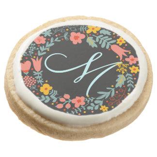 Elegant Floral Wreath Monogram Round Sugar Cookie