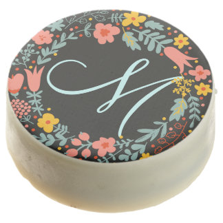 Elegant Floral Wreath Monogram Chocolate Dipped Oreo