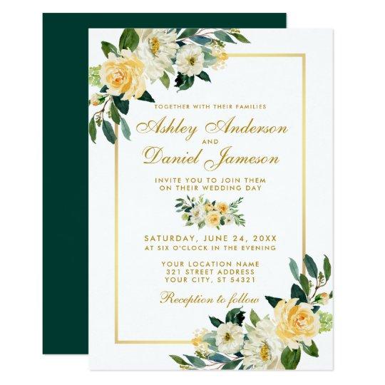Elegant Fl Yellow Gold Hunter Green Wedding Invitation