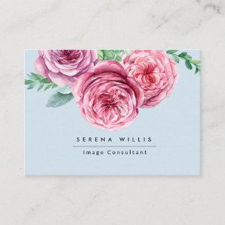 Elegant Florals Pink Flowers Chic Blue Vintage Business Card