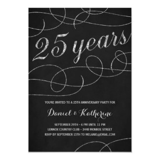 Elegant Flourish   25th Anniversary Party Card