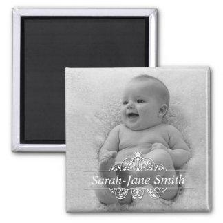 Elegant Flourish Baby Photo Keepsake Magnets
