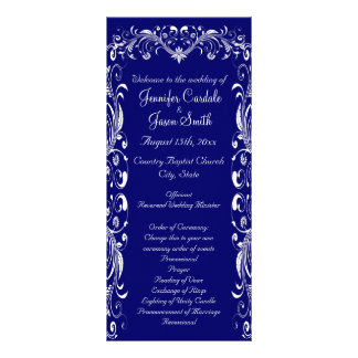 Elegant Flourish Blue Wedding Programs Templates Rack Cards