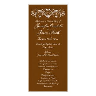 Elegant Flourish Brown Fall Wedding Programs Rack Cards